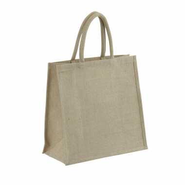 1x jute boodschappentassen/strandtassen 35 x 34 cm naturel