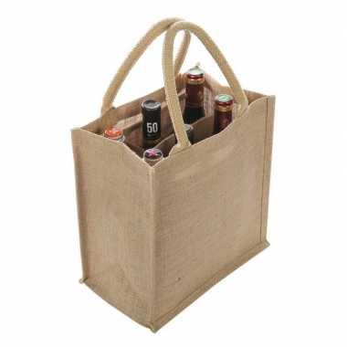 1x jute boodschappentassen/strandtassen voor 6 flessen 29 x 27 cm naturel