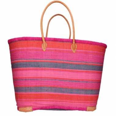 Damestas rieten strandtas met roze/oranje strepen print 52 cm