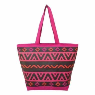 Damestas strandtas aztec print roze/zwart itza 58 cm