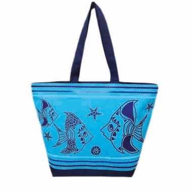 Damestas strandtas maritiem/vissen print fish blauw 58 cm