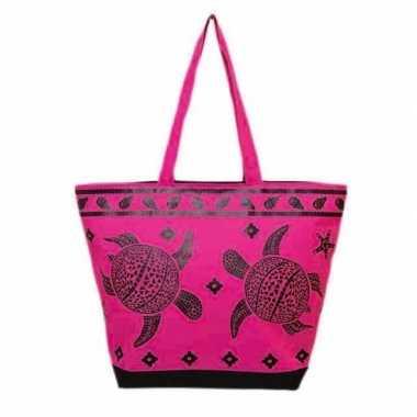 Damestas strandtas schildpad/schelpen print turtle roze 58 cm