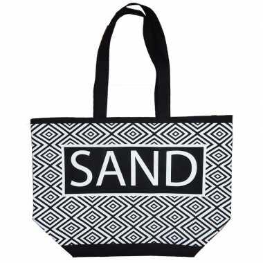 Damestas strandtas zigzag zwart/wit sand 58 cm