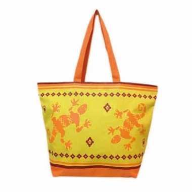 Damestas strandtas zomer/reptiel print gekko oranje/geel 58 cm