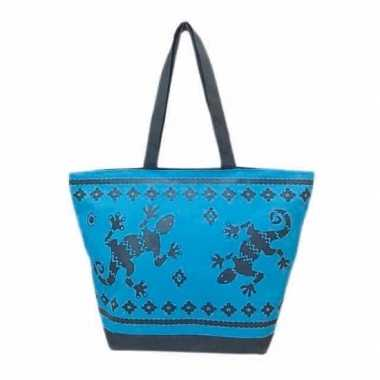 Damestas strandtas zomer/reptielen print gekko blauw 58 cm