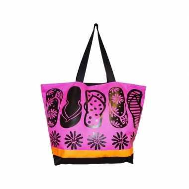 Damestas strandtas zomerse print flip flops roze 58 cm