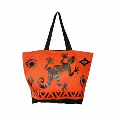 Damestas strandtas zomerse/reptielen gekko oranje 58 cm