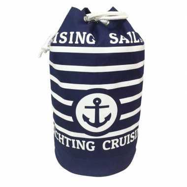 Duffel bag/strandtas zak maritiem blauw/wit cruise 54 cm