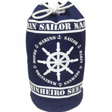 Duffel bag/strandtas zak maritiem blauw/wit marinheiro 54 cm