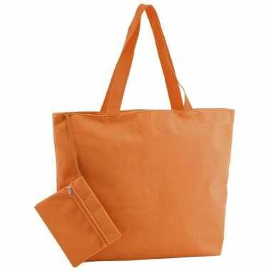 Polyester oranje strandtas 47 cm