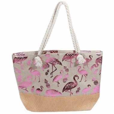 Strandtas flamingo/ananas creme/metallic roze 54 cm