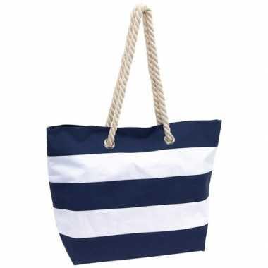 Strandtas gestreept blauw/wit 47 cm