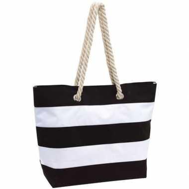 Strandtas gestreept zwart/wit 47 cm