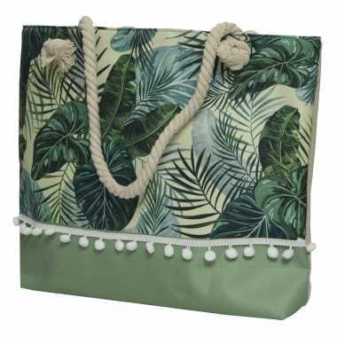 Strandtas met handvat groen met bladeren polyester 45 x 35 cm