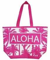 Damestas strandtas palmbomen roze wit aloha 58 cm