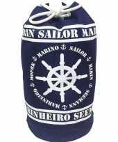 Duffel bag strandtas zak maritiem blauw wit marinheiro 54 cm