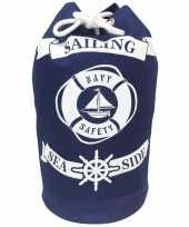 Duffel bag strandtas zak maritiem blauw wit sailing 54 cm
