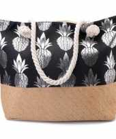 Strandtas ananas zwart zilver 54 cm
