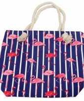 Strandtas flamingo strepen blauw 43 cm
