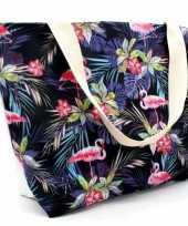 Strandtas flamingo tropisch zwart 43 cm