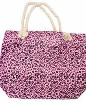 Strandtas luipaard panter print roze 43 cm