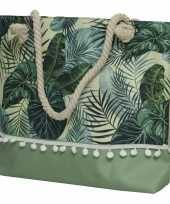 Strandtas met handvat groen met bladeren polyester 45 x 35 cm 10263687