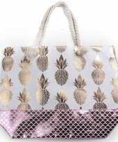 Strandtas wit met metallic ananas schubben print 54 cm